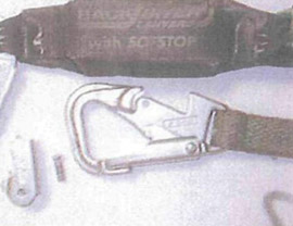 Photo of miller Back Biter lanyard being used by employee at time of failure.
