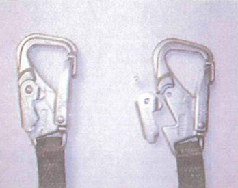 Photo of side by side comparison of the two snap hooks on the lanyard that failed.