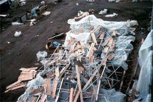 Photo of storm damage to scaffolding