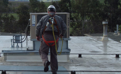photo of a worker with incorrect fall protection