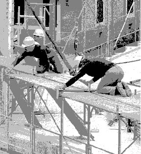 Figure 93.4 Assembling scaffolding at a Geneva, Switzerland, construction site without adequate protection