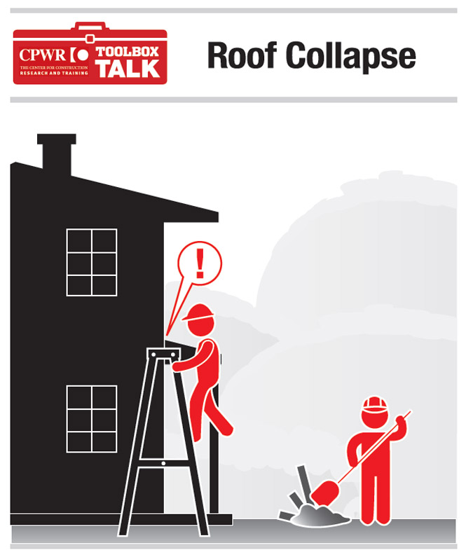 Graphic of two workers, one of whom is observing an unsafe job condition while ascending to the roof on a ladder.