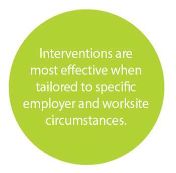Interventions are most effective when tailored to specific employer and workshite circumstances.