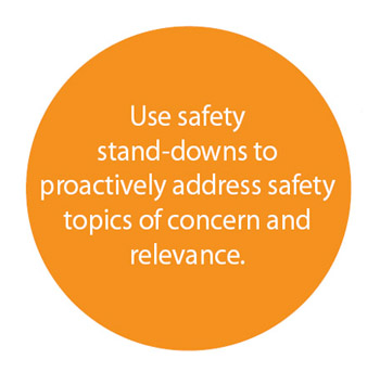 Use safety stand-downs to proactively address safety topics of concern and revelance.