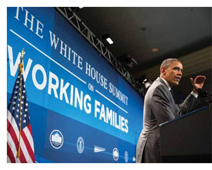 President Obama discusses paid leave policies, June 2014.