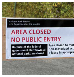 Signage indicating closure of area due to shutdown