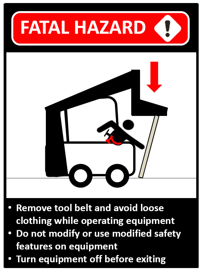 Graphic of a worker in a skid steer forklift accident