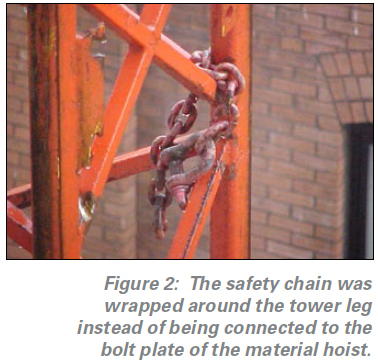 photo of the safety chain in the wrong place- wrapped aroung the tower leg instead of being connected to the bolt plate of the material hoist.