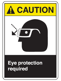 Caution: eye protection warning graphic