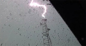 Figure 2: Lightning strikes a communications tower.