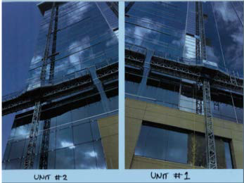 This photo of figure 10 shows the two units where the mast climbers #1 and #2 were on the east side of the building.
