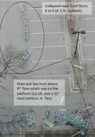 Figure 12 photo- mast sections- collapsed mast from floors 6 to 9 scattered far in a parking lot, and many mast ties on the platform