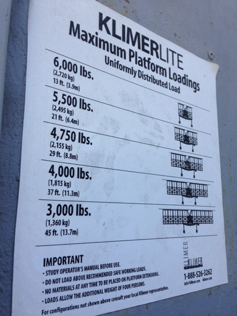 Klimerlite poster showing the type of scaffolding and the maximum allowable platform loading weight
