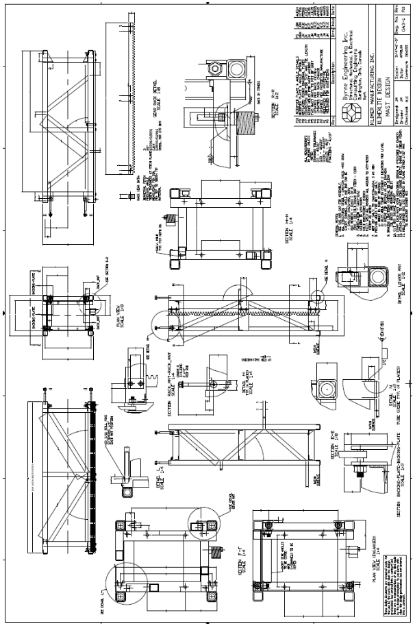 Schematic- a mast drawing provided by manufacturer
