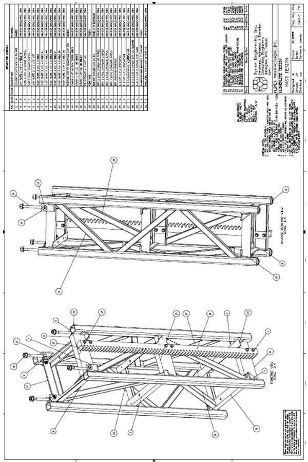 Schematic- figure 4 is a mast design drawing provided by manufacturer