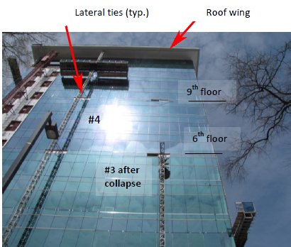 Figure 8 which shows a building and the arrows indicate lateral ties on scaffolding and a roof wing, with mast #3 abd #4
