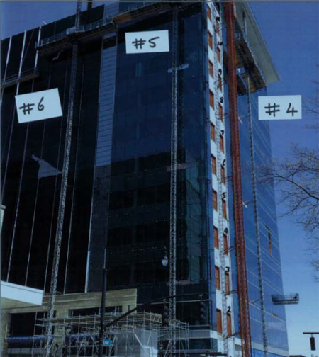 Photo showing figure 9- showing the building with mast climbers #5 and #6