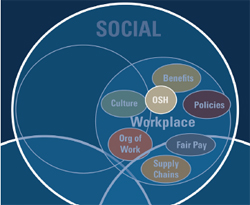 Elements of Social Sustanability: Image shows a close-up view of the social circle that is one part of the three overlapping social, environment, and economy circles representing sustainability. Workplace issues, such as occupational safety and health, benefits, policies, culture, organization of work, fair pay, and supply chains, are shown as a smaller circle within the social circle, since these issues are typically classified under the social sphere of sustainability.