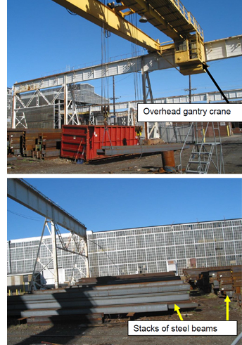 This is a photo of the overhead gantry crane and the stacks of steel beams