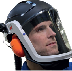 Man with an air-fed helmet