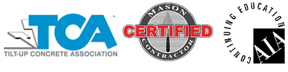 Logos for tilt-up concrete association, certified mason contractor, AIA continuing education