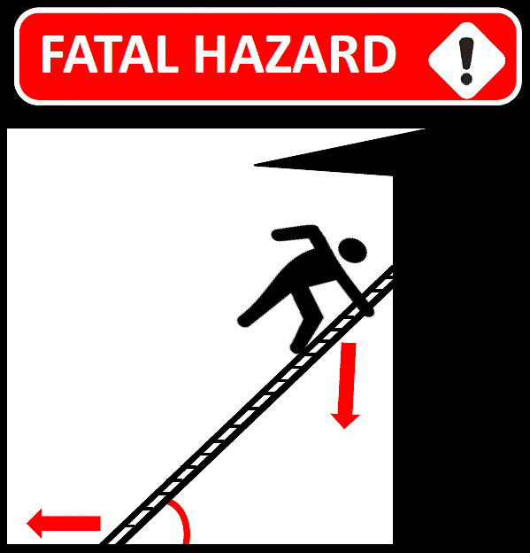Fatal hazard sign where ladder is at a dangerous angle