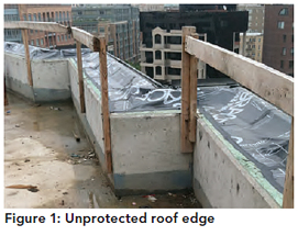 Figure 1: Unprotected roof edge