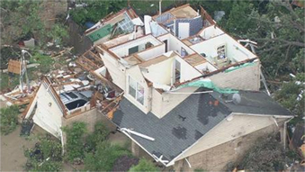 Photo of a destroyed roof