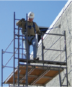 man on a scaffold