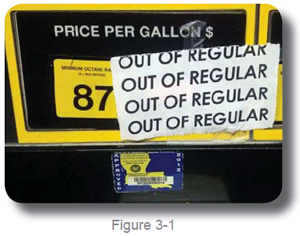 out of gasoline sign on a gas pump