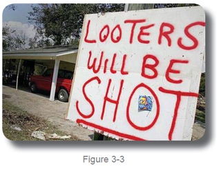 sign looters will be shot