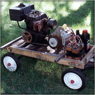 generator on a carrying makeshift platform