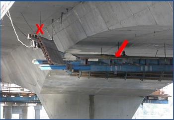 Incident scene showing the concrete form suspended below the bridge. The X indicates where the victim was working when he fell. The arrow indicates the anchor point of his retractable lifeline.