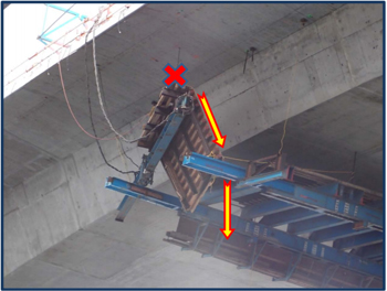"Incident scene showing the location of the victim (indicated by ""X"") when the wing wall form shifted and he slid down the form and fell between the gap between the wing wall form and the main concrete form."