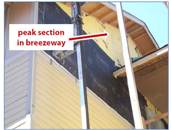 Figure 4. Peak section of breezeway wall.