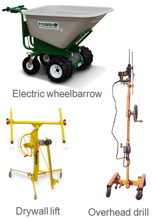 wheel barrow powered, drywall lift, and overhead drill as functional products for safety and stability