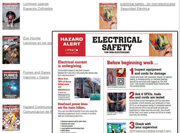 Electrical safety hazard alert and alerts in english and spanish