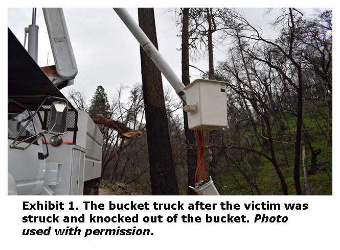 Photo of the bucket truck after the victim was struck and knocked out of the bucket
