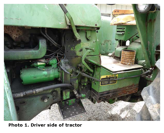 Photo 1. Driver side of tractor