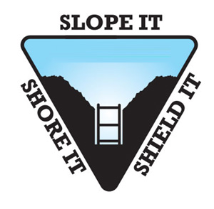 trenching graphic: slope it, shore it, shield it