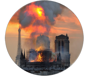 photo of cathedral burning