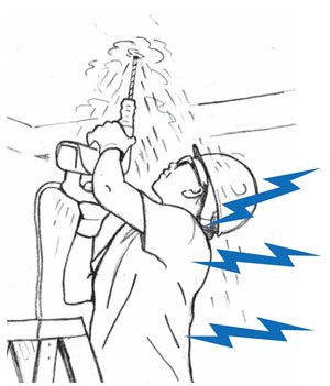 Overhead work can injure the neck,