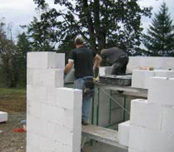 Bricklayers laying brick