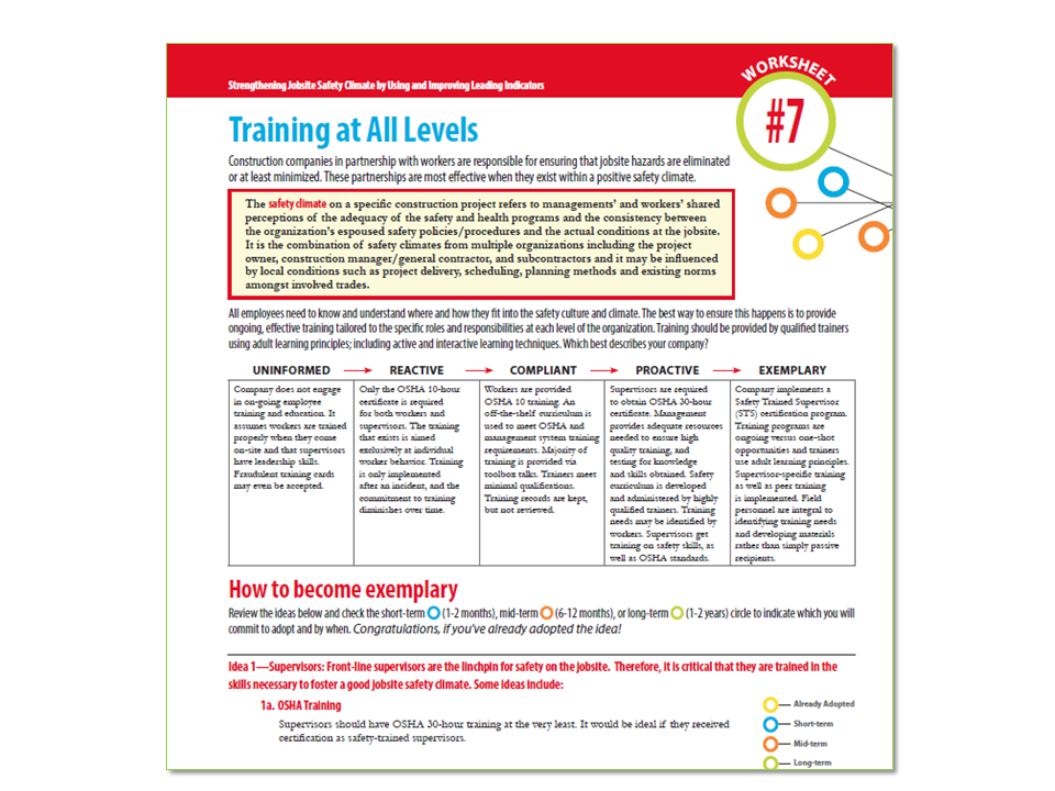 Elcosh Training At All Levels Cpwr Worksheet 7