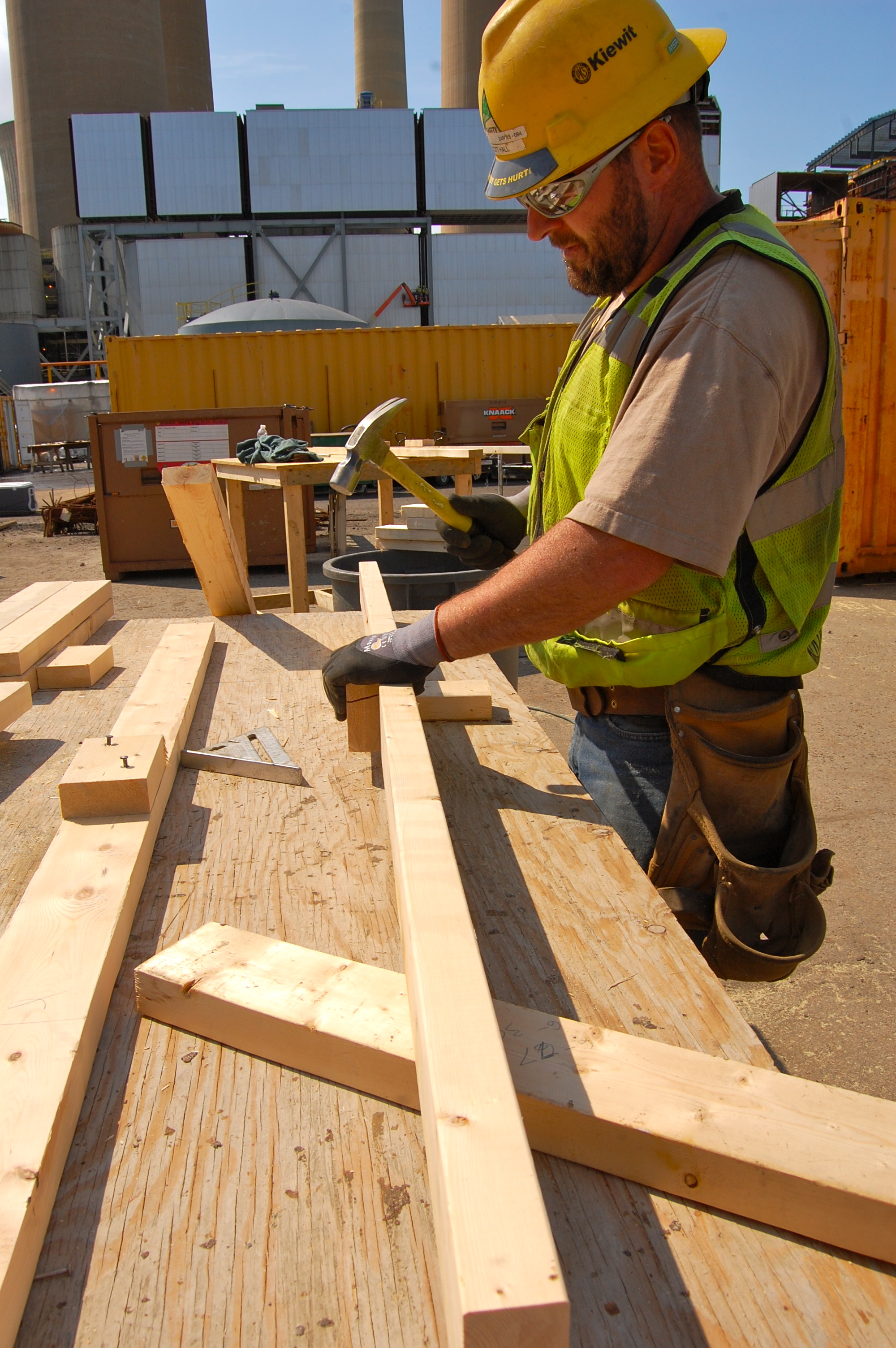 Carpenter wearing PPE