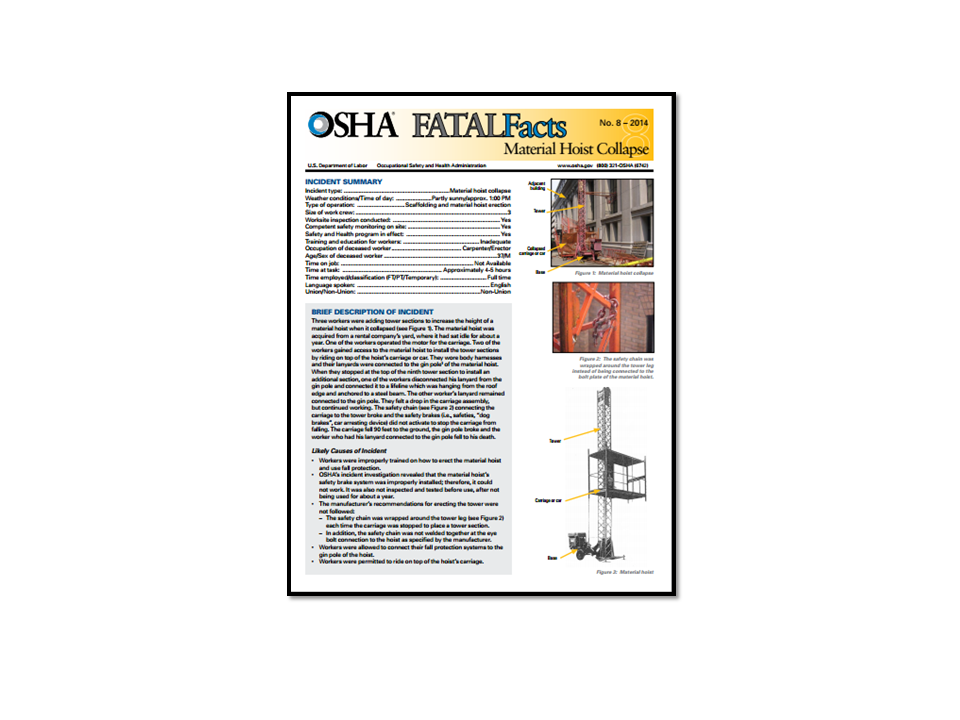 eLCOSH : OSHA Fatal Facts: Material Hoist Collapse